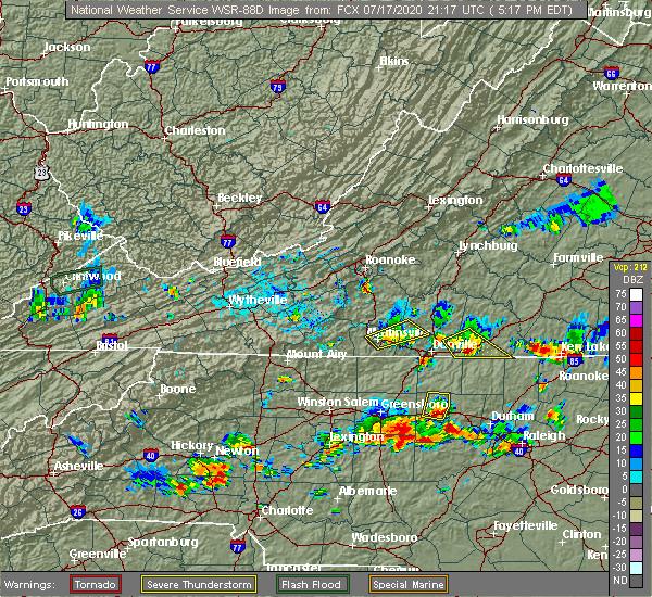Radar Image for Severe Thunderstorms near Chatmoss, VA at 7/17/2020 5:23 PM EDT