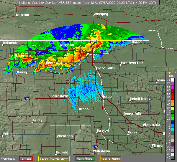 Radar Image for Severe Thunderstorms near Larimore, ND at 7/17/2020 4:26 PM CDT