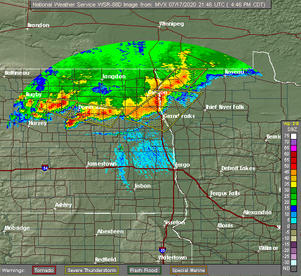 Radar Image for Severe Thunderstorms near Fort Totten, ND at 7/17/2020 4:52 PM CDT