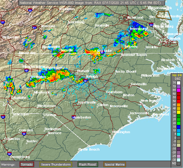 Radar Image for Severe Thunderstorms near Hollister, NC at 7/17/2020 5:53 PM EDT
