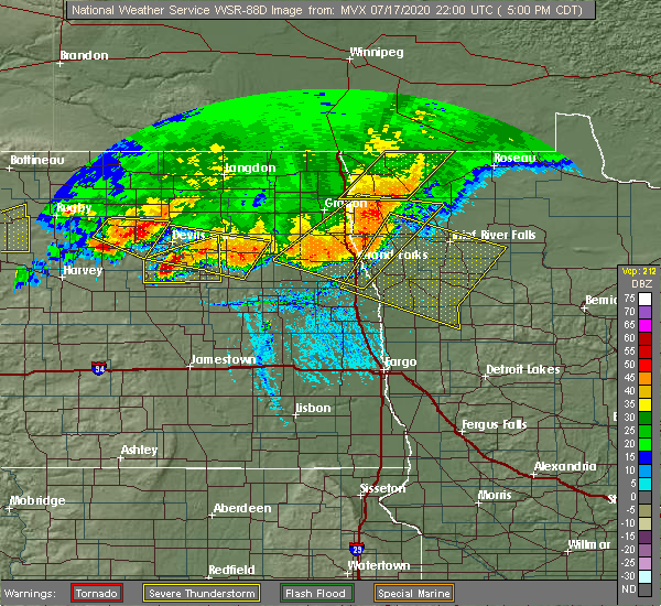 Radar Image for Severe Thunderstorms near Fort Totten, ND at 7/17/2020 5:03 PM CDT