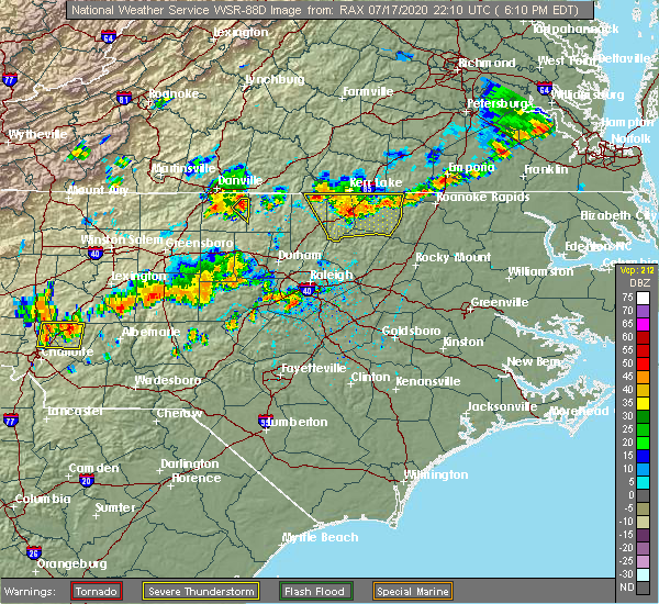 Radar Image for Severe Thunderstorms near Hollister, NC at 7/17/2020 6:18 PM EDT