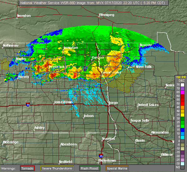 Radar Image for Severe Thunderstorms near Michigan City, ND at 7/17/2020 5:29 PM CDT