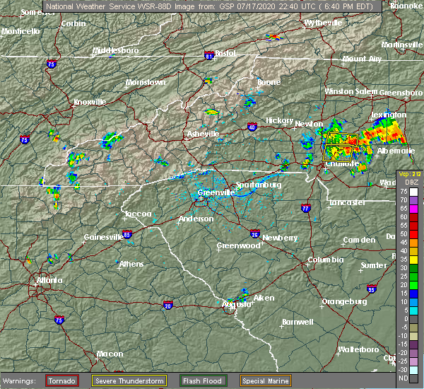 Radar Image for Severe Thunderstorms near Concord, NC at 7/17/2020 6:46 PM EDT