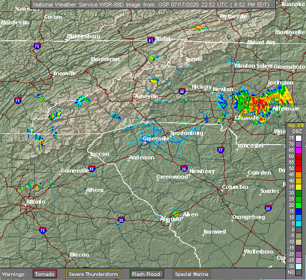 Radar Image for Severe Thunderstorms near Concord, NC at 7/17/2020 6:55 PM EDT