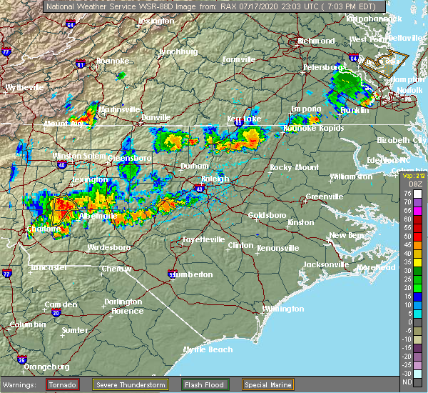 Radar Image for Severe Thunderstorms near Red Oak, NC at 7/17/2020 7:14 PM EDT