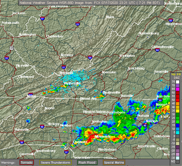 Radar Image for Severe Thunderstorms near Rockwell, NC at 7/17/2020 7:25 PM EDT