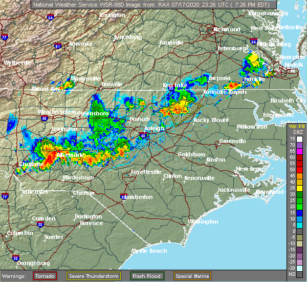 Radar Image for Severe Thunderstorms near Red Oak, NC at 7/17/2020 7:30 PM EDT