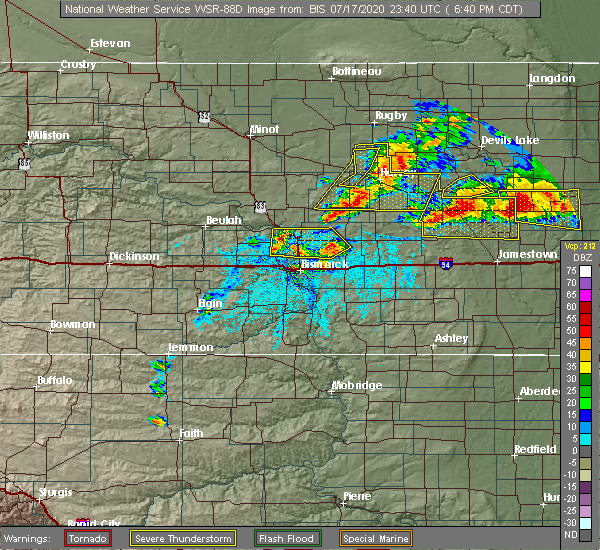 Radar Image for Severe Thunderstorms near Wilton, ND at 7/17/2020 6:42 PM CDT