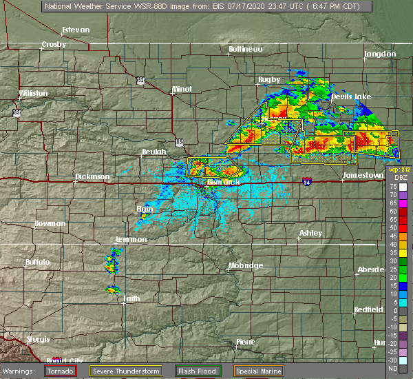Radar Image for Severe Thunderstorms near Wilton, ND at 7/17/2020 6:56 PM CDT
