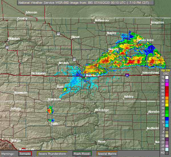 Radar Image for Severe Thunderstorms near Wilton, ND at 7/17/2020 7:13 PM CDT