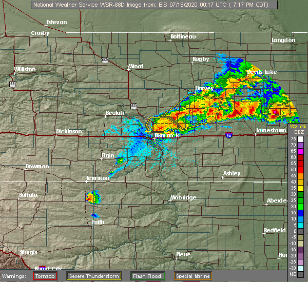 Radar Image for Severe Thunderstorms near Spiritwood Lake, ND at 7/17/2020 7:25 PM CDT