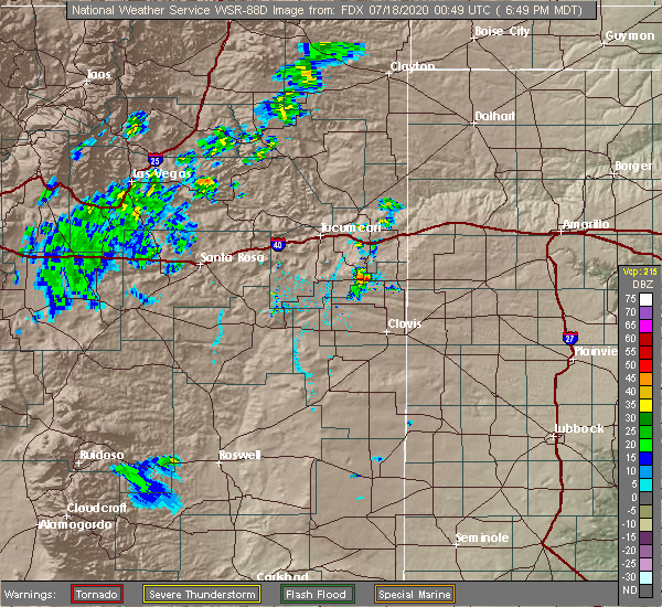 Radar Image for Severe Thunderstorms near San Jon, NM at 7/17/2020 6:55 PM MDT