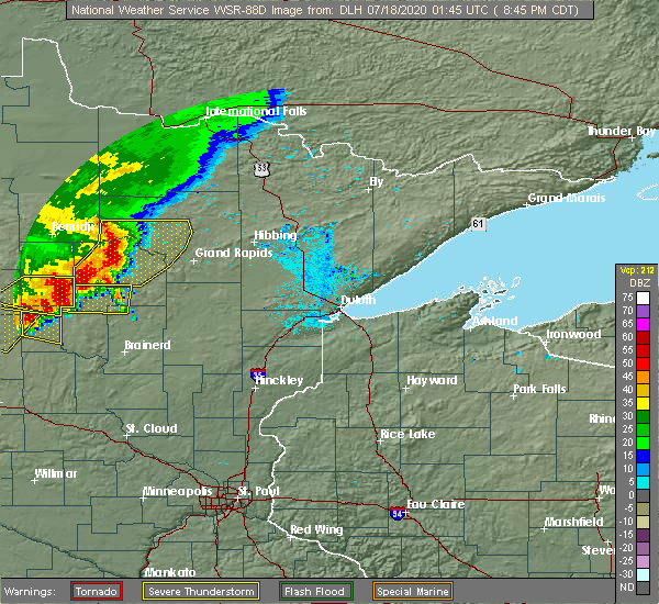 Radar Image for Severe Thunderstorms near Pequot Lakes, MN at 7/17/2020 8:53 PM CDT
