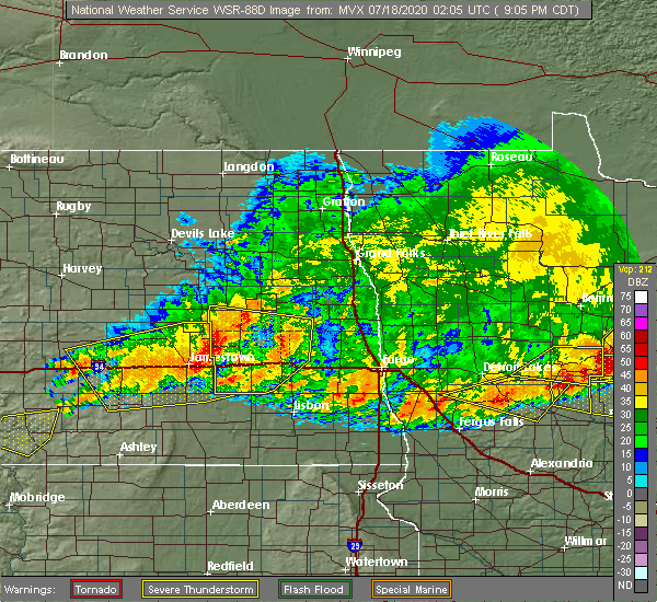 Radar Image for Severe Thunderstorms near Jud, ND at 7/17/2020 9:07 PM CDT