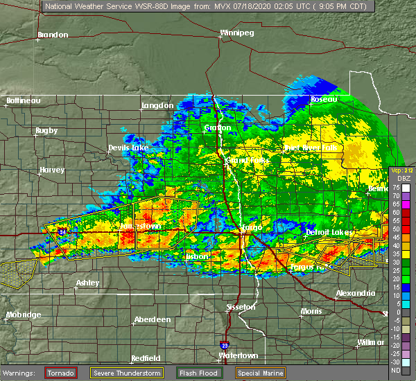 Radar Image for Severe Thunderstorms near Leal, ND at 7/17/2020 9:13 PM CDT