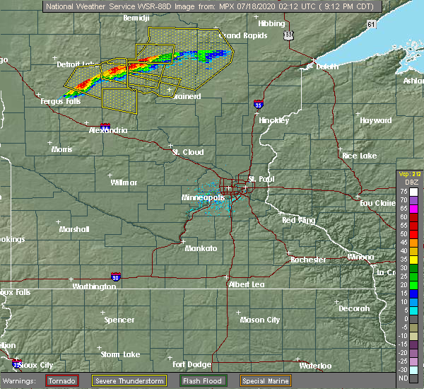 Radar Image for Severe Thunderstorms near Merrifield, MN at 7/17/2020 9:29 PM CDT