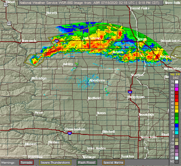 Radar Image for Severe Thunderstorms near Jud, ND at 7/17/2020 9:30 PM CDT