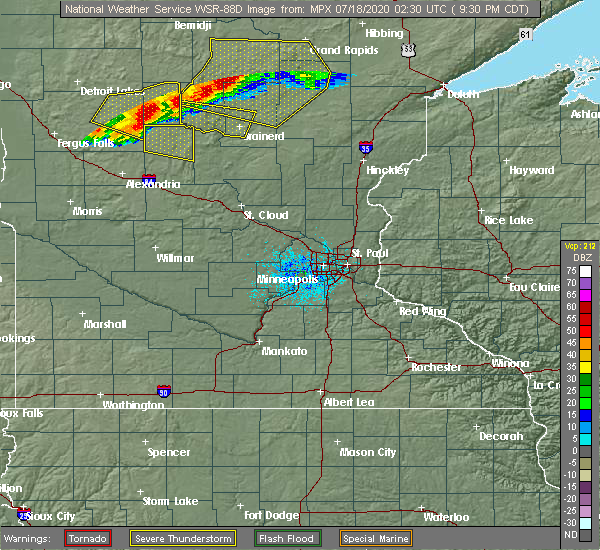 Radar Image for Severe Thunderstorms near Hewitt, MN at 7/17/2020 9:37 PM CDT