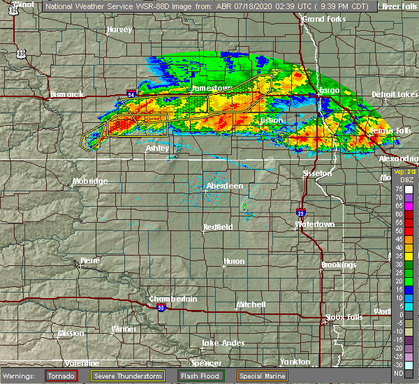 Radar Image for Severe Thunderstorms near Jud, ND at 7/17/2020 9:44 PM CDT