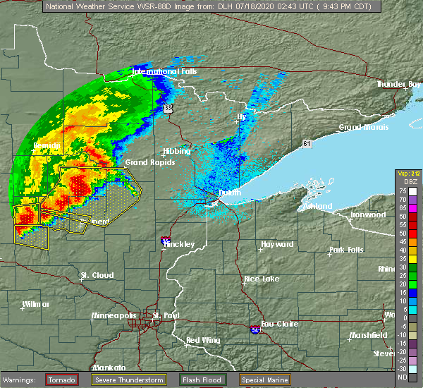 Radar Image for Severe Thunderstorms near Merrifield, MN at 7/17/2020 9:55 PM CDT