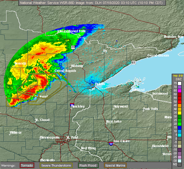 Radar Image for Severe Thunderstorms near Merrifield, MN at 7/17/2020 10:12 PM CDT