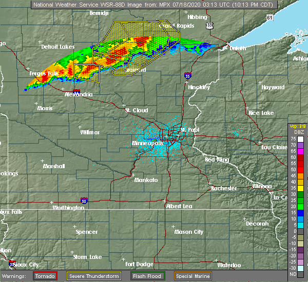 Radar Image for Severe Thunderstorms near Hewitt, MN at 7/17/2020 10:16 PM CDT