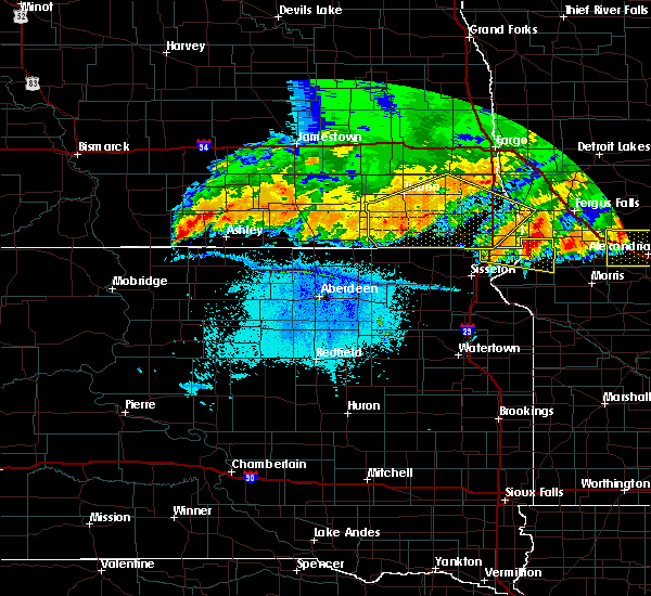 Radar Image for Severe Thunderstorms near Fairmount, ND at 7/17/2020 10:24 PM CDT