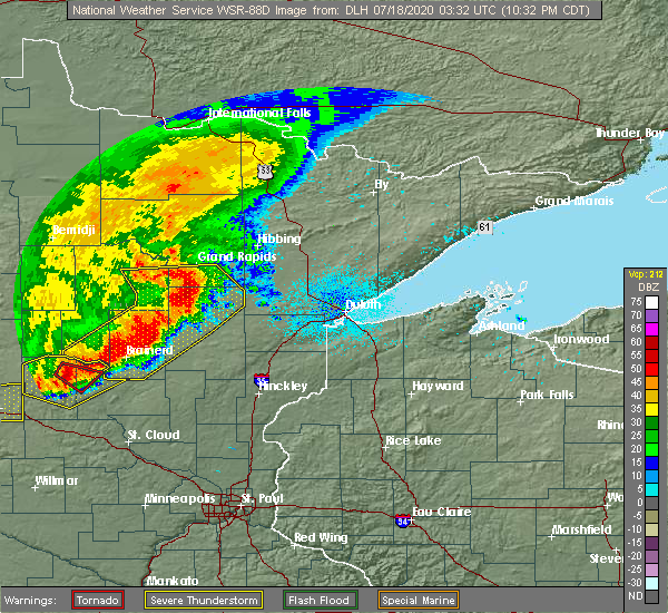 Radar Image for Severe Thunderstorms near Merrifield, MN at 7/17/2020 10:38 PM CDT