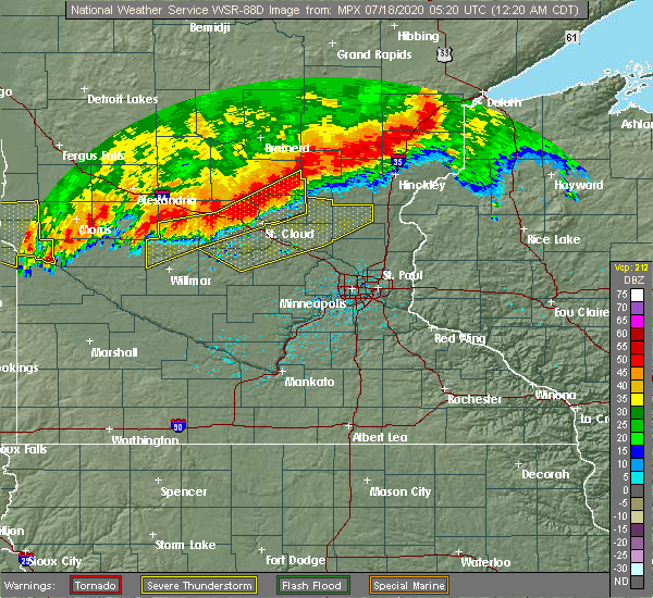 Radar Image for Severe Thunderstorms near St. Francis, MN at 7/18/2020 12:29 AM CDT