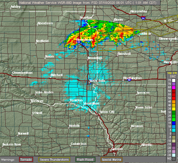 Radar Image for Severe Thunderstorms near Oldham, SD at 7/18/2020 1:05 AM CDT