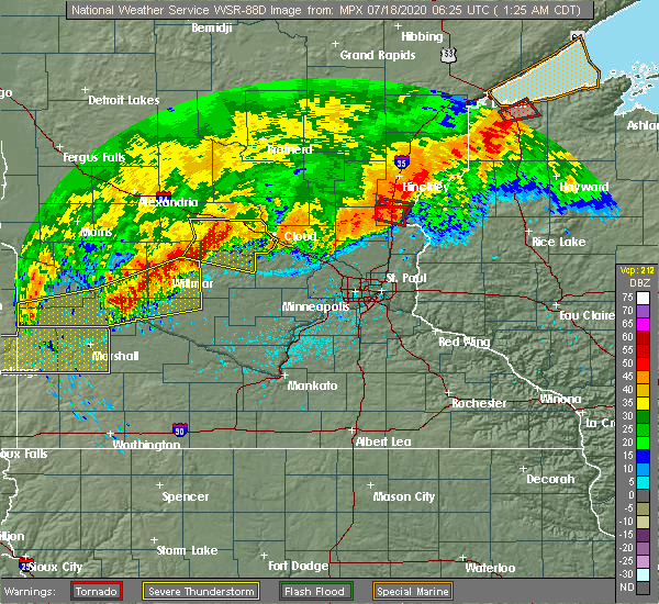 Radar Image for Severe Thunderstorms near Rush City, MN at 7/18/2020 1:29 AM CDT