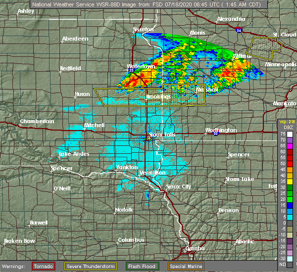 Radar Image for Severe Thunderstorms near Oldham, SD at 7/18/2020 1:49 AM CDT