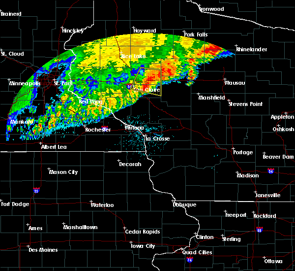 Radar Image for Severe Thunderstorms near Cadott, WI at 7/18/2020 4:36 AM CDT