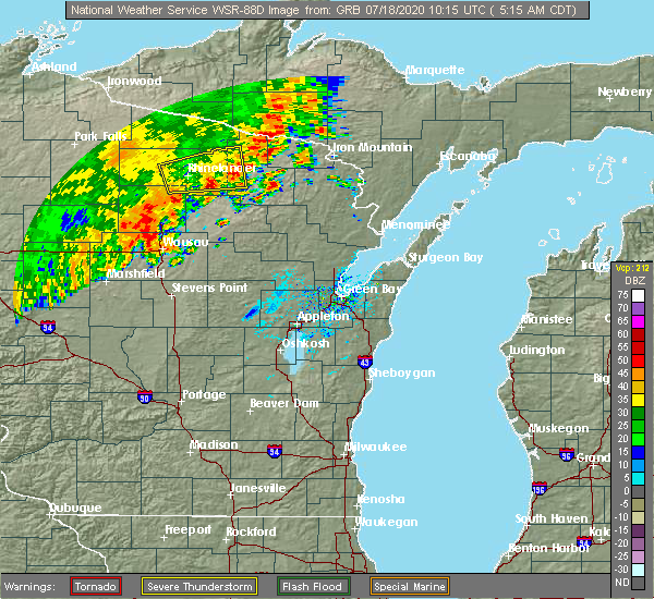 Radar Image for Severe Thunderstorms near Mosinee, WI at 7/18/2020 5:22 AM CDT