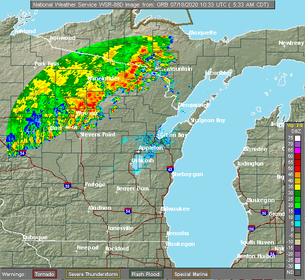 Radar Image for Severe Thunderstorms near Mosinee, WI at 7/18/2020 5:35 AM CDT