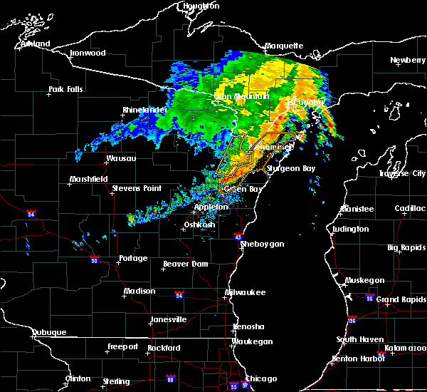 Radar Image for Severe Thunderstorms near Sturgeon Bay, WI at 7/18/2020 7:16 AM CDT