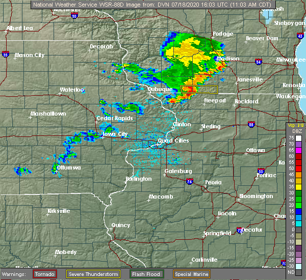 Radar Image for Severe Thunderstorms near Nora, IL at 7/18/2020 11:06 AM CDT