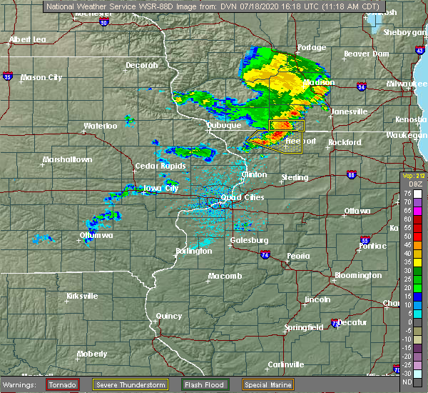 Radar Image for Severe Thunderstorms near Nora, IL at 7/18/2020 11:23 AM CDT