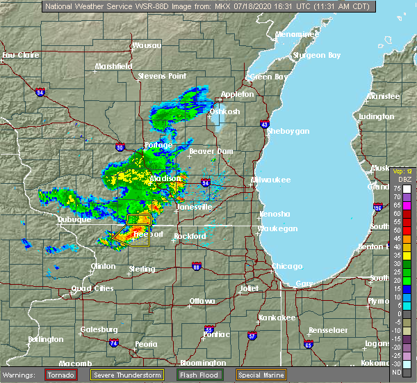 Radar Image for Severe Thunderstorms near German Valley, IL at 7/18/2020 11:33 AM CDT