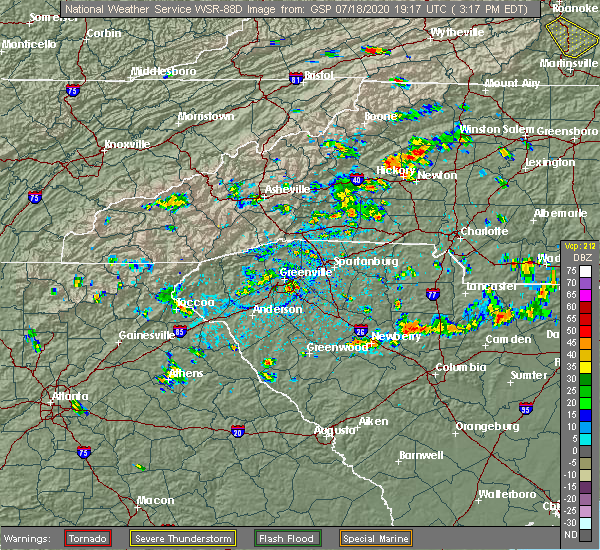 Radar Image for Severe Thunderstorms near Bethlehem, NC at 7/18/2020 3:22 PM EDT