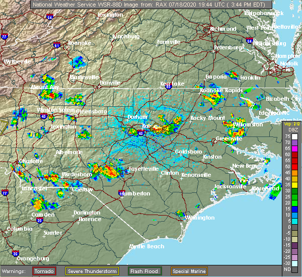 Radar Image for Severe Thunderstorms near Smithfield, NC at 7/18/2020 3:52 PM EDT