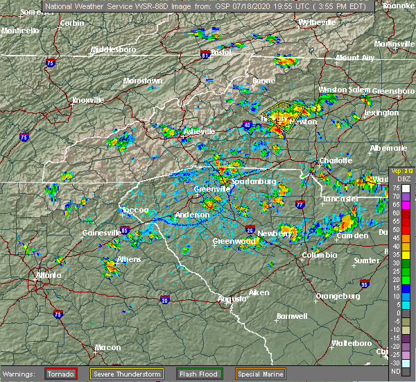 Radar Image for Severe Thunderstorms near Conover, NC at 7/18/2020 4:01 PM EDT