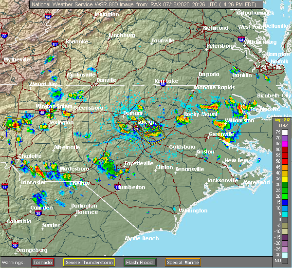 Radar Image for Severe Thunderstorms near Smithfield, NC at 7/18/2020 4:31 PM EDT