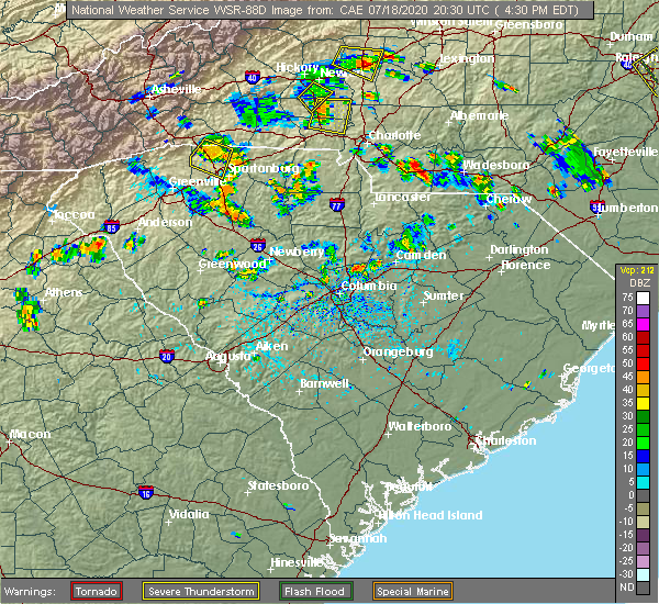 Radar Image for Severe Thunderstorms near Monroe, NC at 7/18/2020 4:36 PM EDT