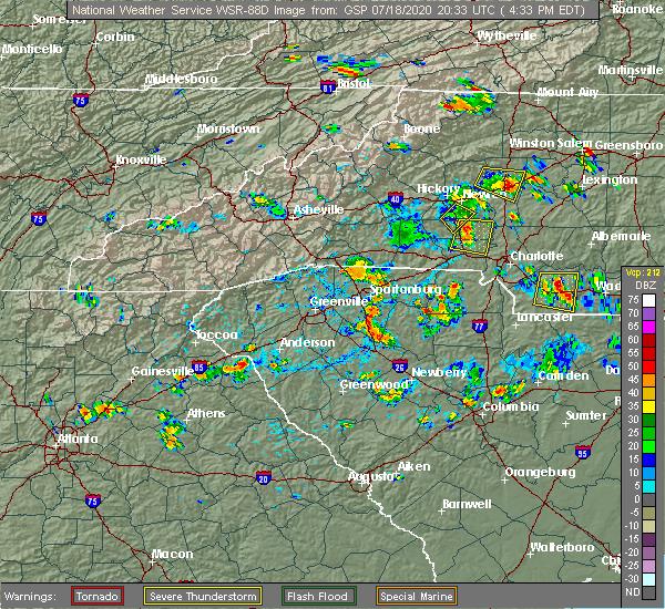 Radar Image for Severe Thunderstorms near Roebuck, SC at 7/18/2020 4:42 PM EDT