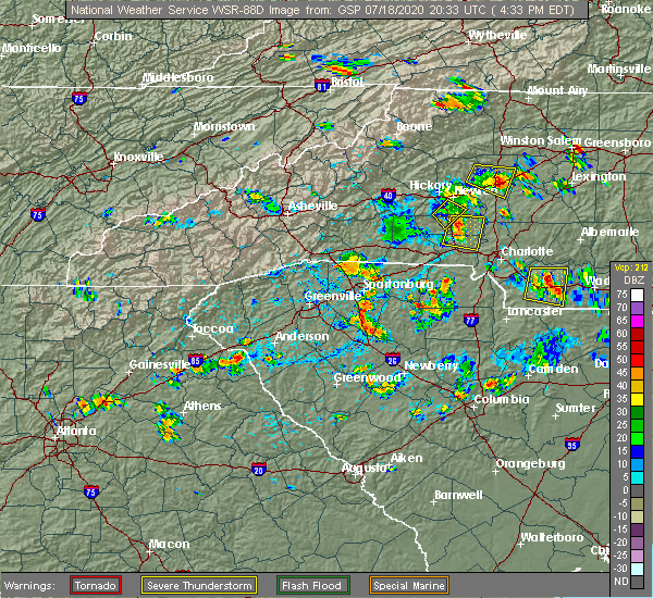 Radar Image for Severe Thunderstorms near Newton, NC at 7/18/2020 4:42 PM EDT