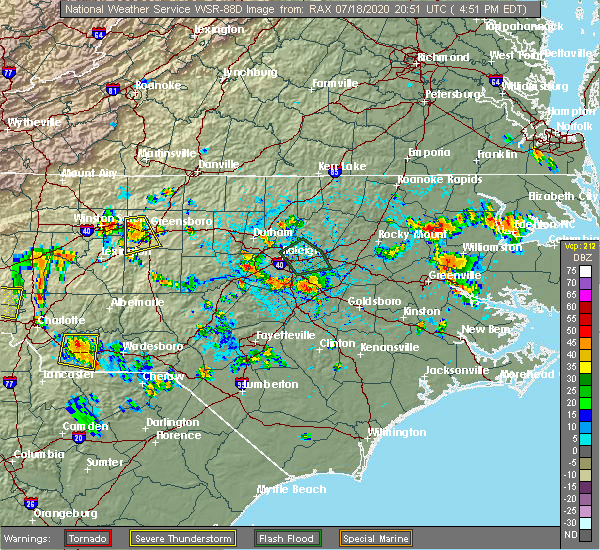 Radar Image for Severe Thunderstorms near Garner, NC at 7/18/2020 4:55 PM EDT