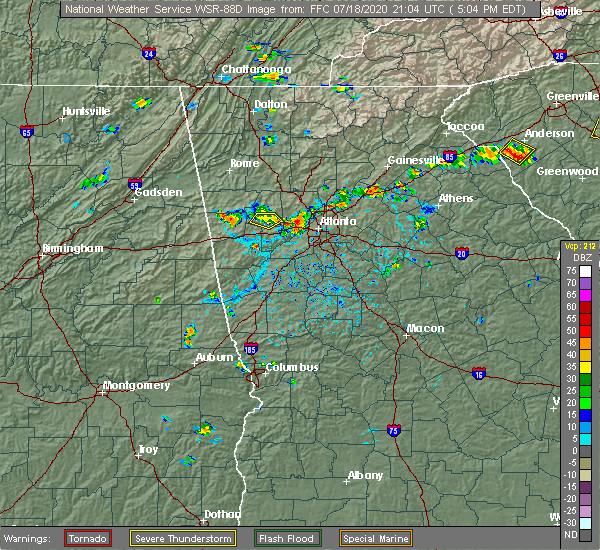 Radar Image for Severe Thunderstorms near Atlanta, GA at 7/18/2020 5:11 PM EDT