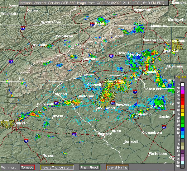 Radar Image for Severe Thunderstorms near Charlotte, NC at 7/18/2020 5:15 PM EDT